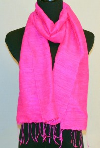 Hot Pink Raw Silk Scarf