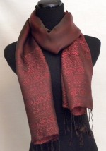 Chocolate and Maroon Silk Satin Scarf Traditinal Design
