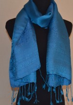 Satin Silk Scarf Aqua Light Blue Traditional Design