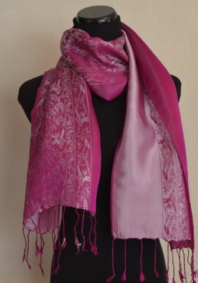 Satin Silk Scarf Lavender Nature Design