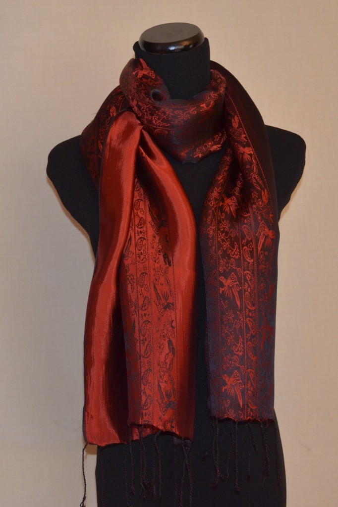 Satin Silk Scarf in Maroon/Black Nature Design