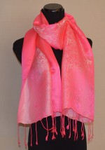 Pink Silk Satin Scarf in Nature Design