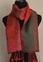 Satin Silk Scarf Red Olive Green Nature Design