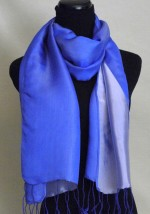 Satin Silk Scarf Two Tone Blue Silver Blue