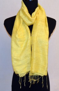 Yellow Raw Silk Scarf