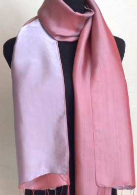 Dusty Rose and Mauve Silk Scarf
