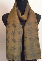 silk-scarf-in-olive-green-blue-bamboo-tree-pattern